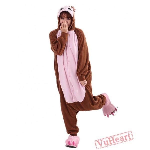Women & Men Brown Monkey Kigurumi Onesies Pajamas Costumes Hoodies