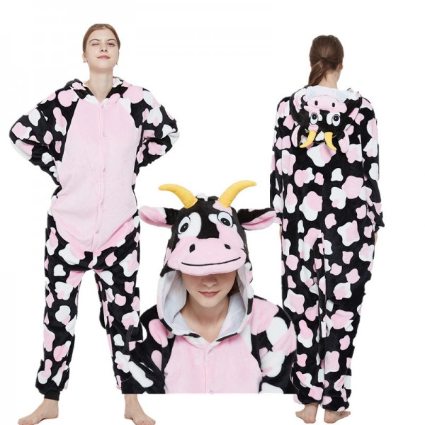 Pink Cute Cow Kigurumi Onesies Pajamas Costumes for Women & Men
