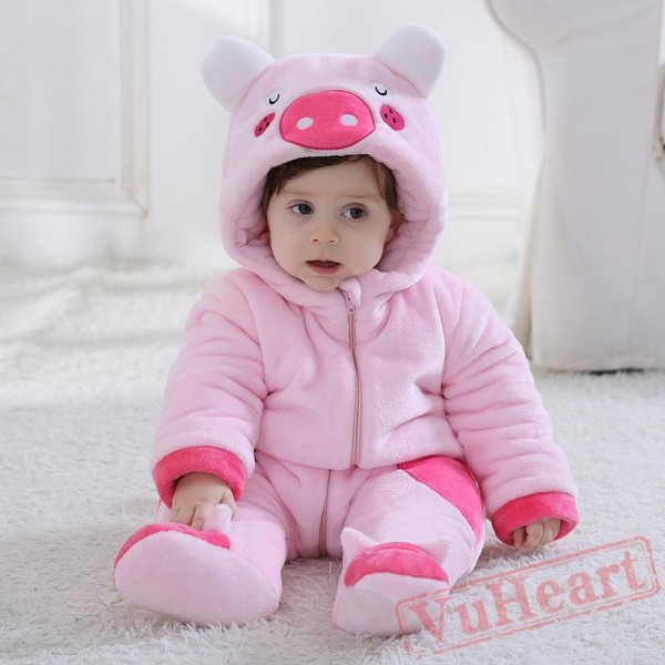Piggy Flannel Animal Pink Baby Onesie Costumes / Clothes