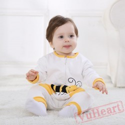 White Long Sleeved Bee Baby Onesie Costumes / Clothes