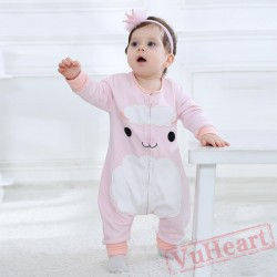 Pink Long Sleeve Baby Onesie Costumes / Clothes