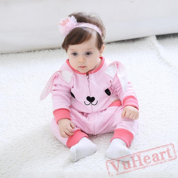 Pink Long-Sleeved Rabbit Baby Onesie Costumes / Clothes