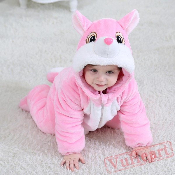 Pink & Coffee Squirrel Baby Onesie Costumes / Clothes