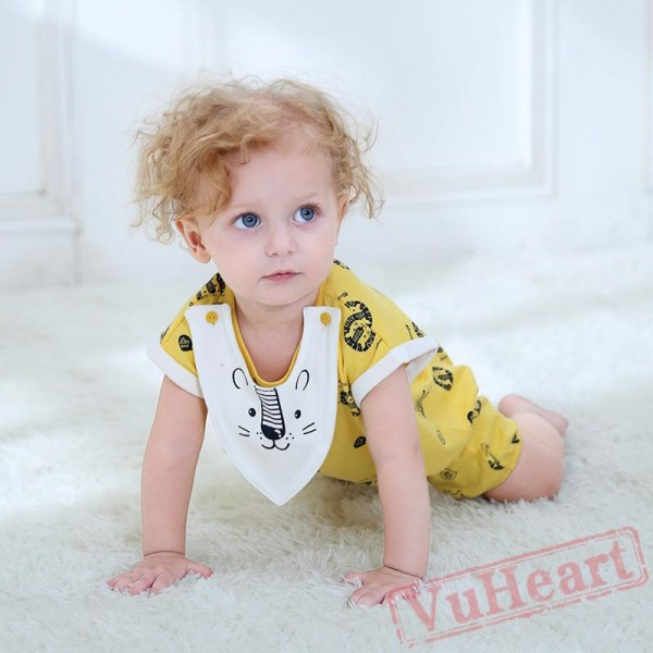 Yellow Summer Cotton Comfort Lion Print Baby Onesie Costumes / Clothes