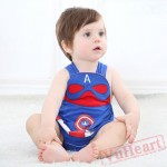 Blue Summer Captain America Baby Onesie Costumes / Clothes