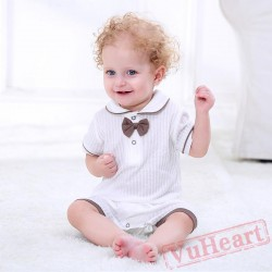 White Summer Short-Sleeved Gentleman Baby Onesie Costumes / Clothes