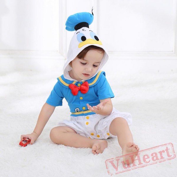 Blue Summer Cotton Cartoon Baby Onesie Costumes / Clothes