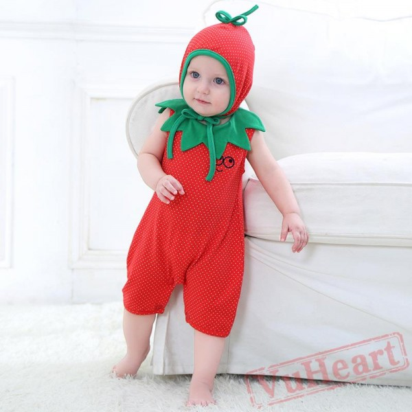 Red Strawberry Baby Onesie Costumes / Clothes