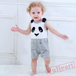 Gray Summer Panda Without Sleeves Baby Onesie Costumes / Clothes