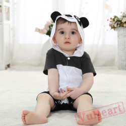Black And White Summer Cotton Panda Baby Onesie Costumes / Clothes