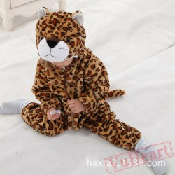 Brown & Light Coffee Color Flannel Leopard Baby Onesie Costumes / Clothes