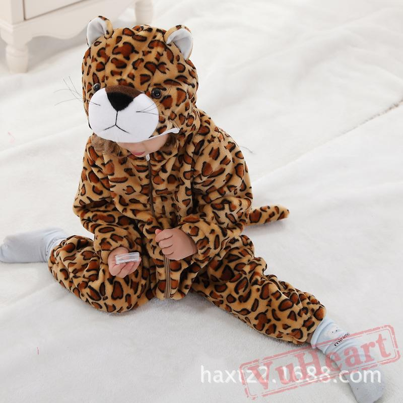 Brown U0026 Light Coffee Color Flannel Leopard Baby Onesie Costumes / Clothes