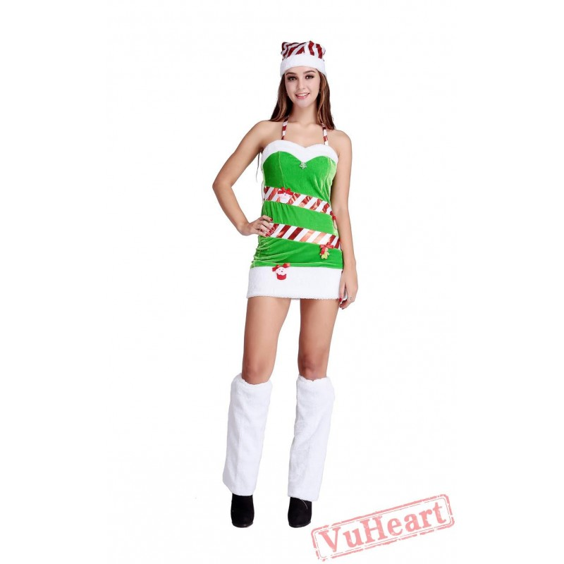 christmas green sling dresses for womenchristmas tree