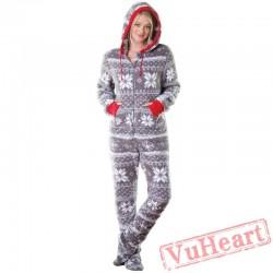 Fashion Lady Christmas Printed Onesies Pajamas