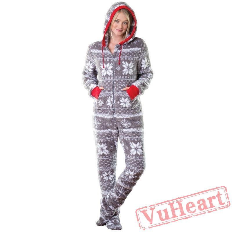 Christmas Jumpsuit Pajamas.Fashion Lady Christmas Printed Onesies Pajamas