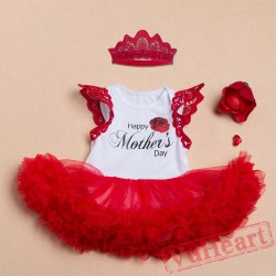 Mother Day Red Baby Girl Onesies Set,Summer Toddler Bodysuit