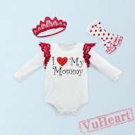 Mother Day White Baby Girl Onesies Set,Summer Toddler Bodysuit