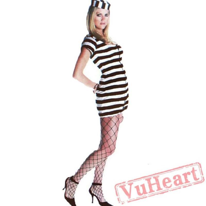 sc 1 st  VuHeart & Halloween adult black and white prisoners costume