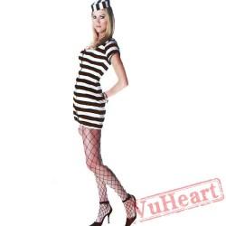 Halloween adult black and white prisoners costume