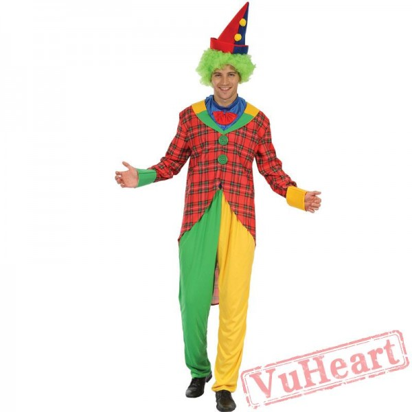Halloween costume, adult happy clown costume