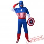 Halloween cosplay costume, adult American captain costume, hero league