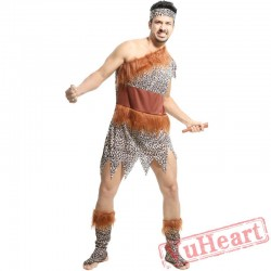 Adult men and women indigenous people primitive people leopard savage costume