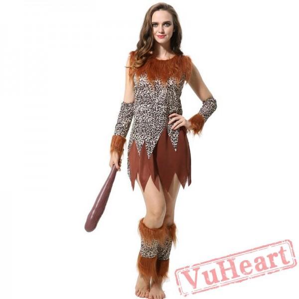Adult men and women indigenous people primitive people leopard savage costume