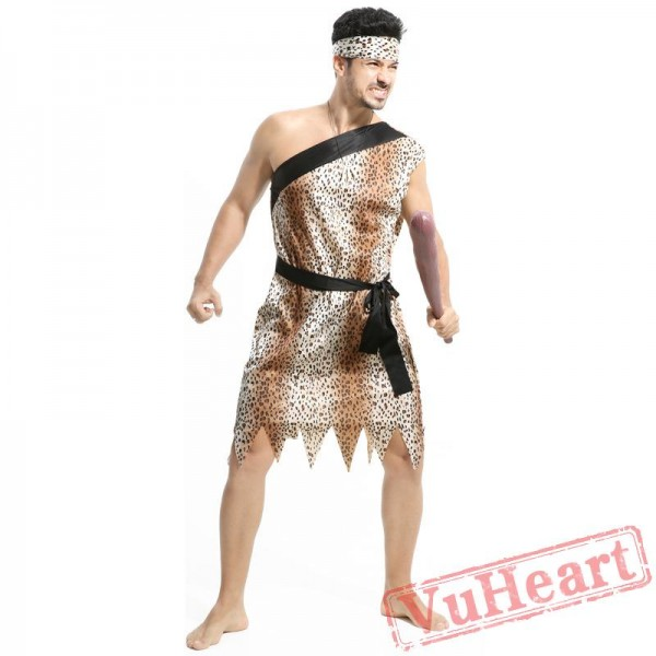 Halloween cosplay costume, adult leopard savage costume