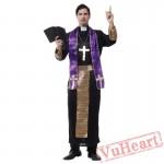 Halloween cosplay costume, adult priest costume
