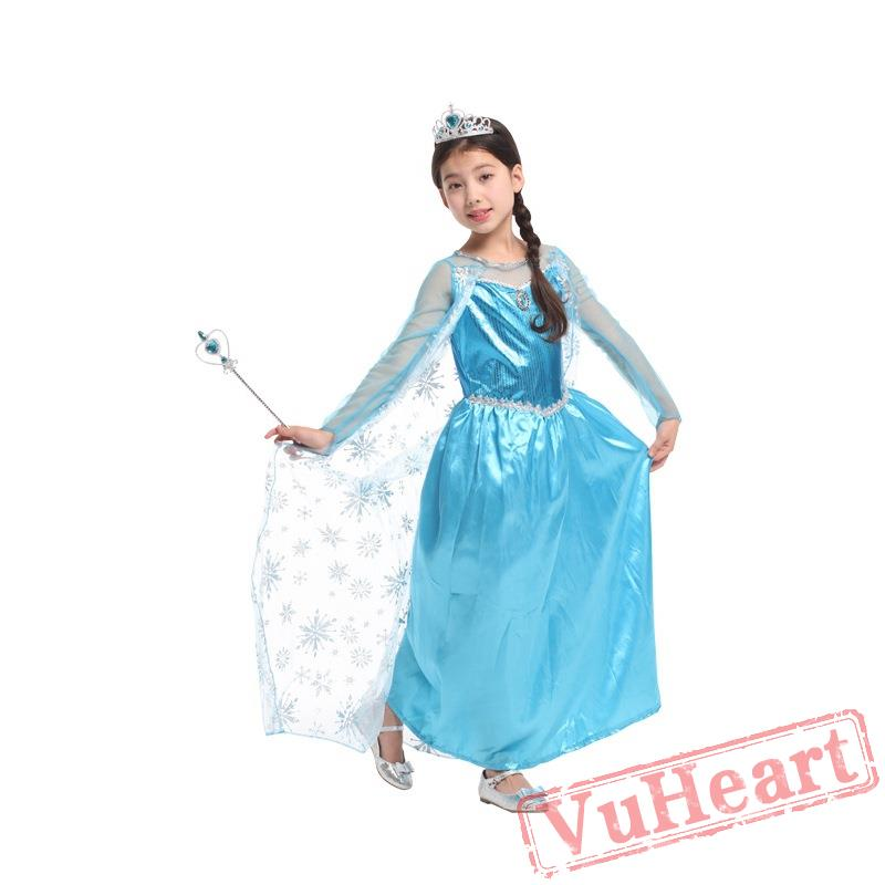 ice and snow odd princess dress halloween kids costume