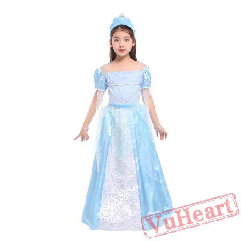 halloween kids costume ice blue princess skirt costume