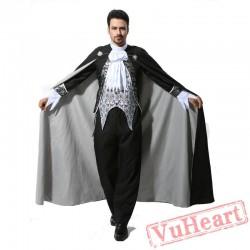 Halloween adult men costume, silver black vampire costume