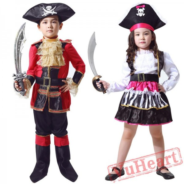 Child Pirate Garment, Caribbean Pirate Captain Costume