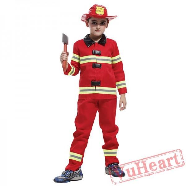Halloween cosplay costume, kid fireman costume
