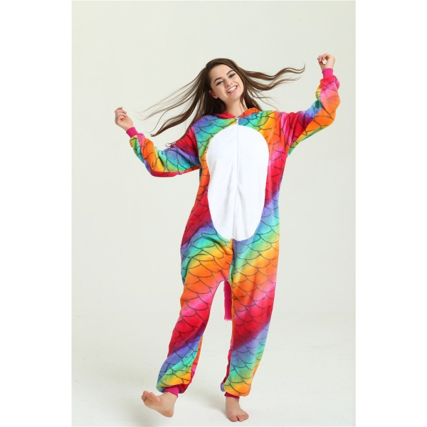 Fish Scale Rainbow Unicorn Onesie Pajamas / Costumes