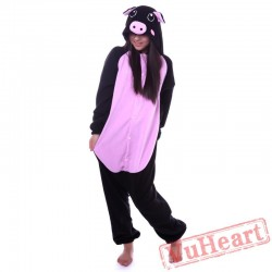Kigurumi | Black Pink Pig Kigurumi Onesies - Adult Animal Onesies