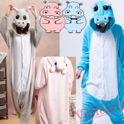 Blue Hippo Couple Onesies / Pajamas / Costumes