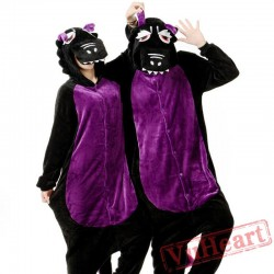 Black Purple Dinosaur Couple Onesies / Pajamas / Costumes