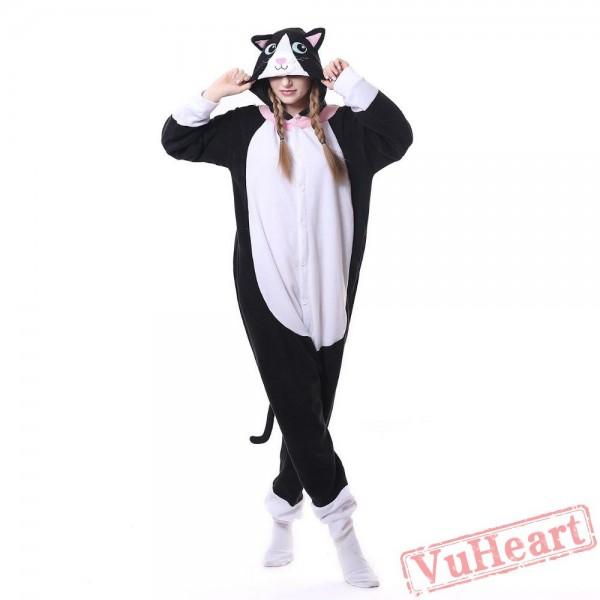 Kigurumi | White-Face Black Cat Kigurumi Onesies - Adult Animal Onesies