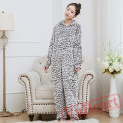 Flannel Cartoon Leopard Bear Onesies Pajamas Homewear