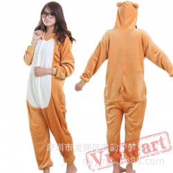 Flannel Cartoon Bear Onesies Pajamas Homewear