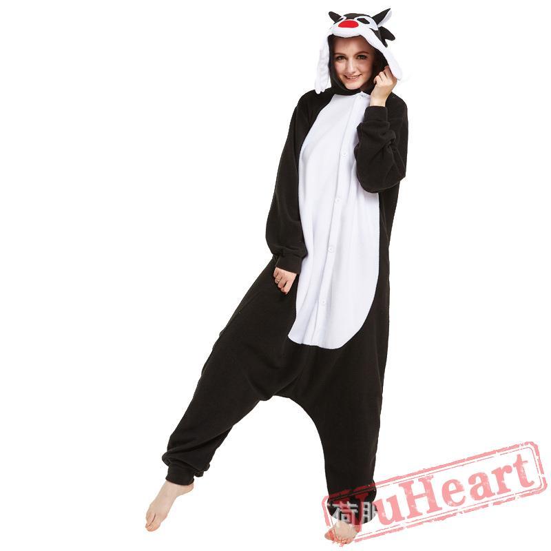 2956cbc03c59 Adult Black Wolf Onesie Pajamas   Costumes for Women   Men
