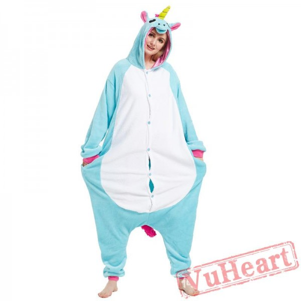 Adult Blue Unicorn Onesie Pajamas / Costumes for Women & Men