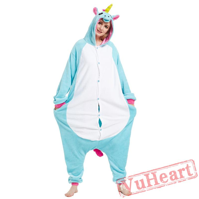 f0727067ba0f Adult Blue Unicorn Onesie Pajamas   Costumes for Women   Men