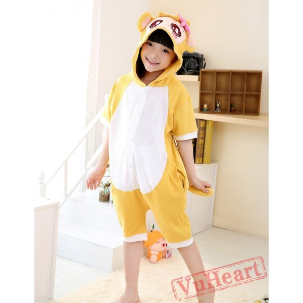 Cartoon Yellow Monkey Summer Kigurumi Onesies Pajamas Costumes for Boys & Girls