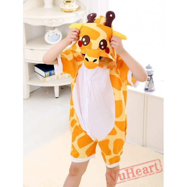 Cartoon Giraffe Summer Kigurumi Onesies Pajamas Costumes for Boys & Girls