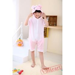 Pink Pig Summer Kigurumi Onesies Pajamas Costumes for Boys & Girls