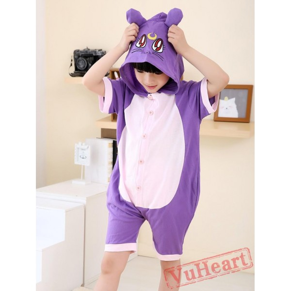 Cartoon Purple Cat Summer Kigurumi Onesies Pajamas Costumes for Boys & Girls