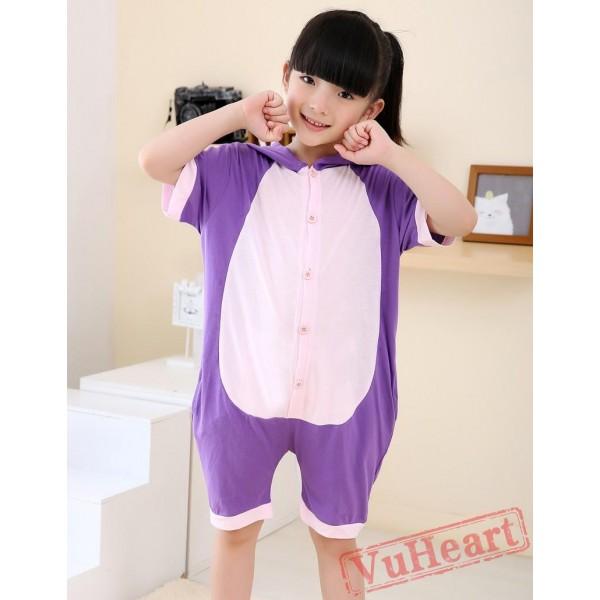 Cartoon Purple Cat Summer Kigurumi Onesies Pajamas Costumes for Boys & Girls