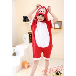 Cartoon Red Fox Summer Kigurumi Onesies Pajamas Costumes for Boys & Girls